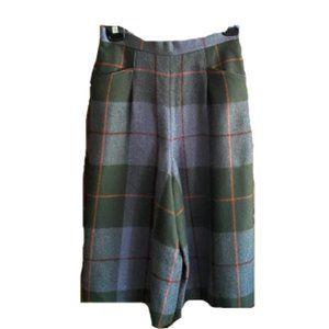 Vintage high waist wide leg plaid crop pants